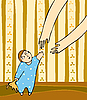 Vector clipart: child and mother`s arms
