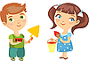 Vector clipart: boy builder and girl painter