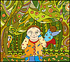 Vector clipart: children play in forest