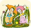 Vector clipart: children play in grass