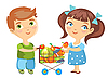 Vector clipart: children purchase vegetables