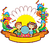 Vector clipart: children world flower label