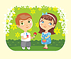Vector clipart: girl and boy with flower