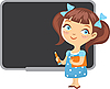 Vector clipart: girl at school blackboard