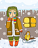 girl with sled in winter