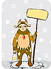 Vector clipart: man in cow costume in winter