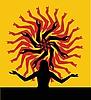 Векторный клипарт: Силуэт девушки и стилизованное солнце
