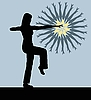 Vector clipart: Silhouette of the girl engaged gymnastics