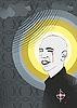 Vector clipart: Portrait of the bald man with nimbus