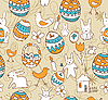 Easter Child Scribbles Seamless Background | 向量插图