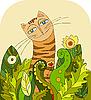 Vector clipart: Cat Head Grass
