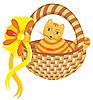 Vector clipart: Cat in Basket