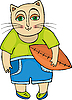 Vector clipart: Cat Rugby Football