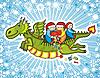 Vector clipart: Dragon Children Present