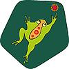 Векторный клипарт: Зеленая лягушка цветы