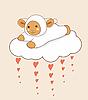 Vektor Cliparts: Wolke mit Herz und Lämmchen