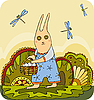 Vector clipart: Rabbit Basket Egg