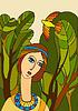 Vector clipart: Girl Face Bird