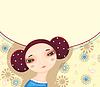 Vector clipart: Girl Face Flower Card