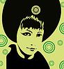 Векторный клипарт: Зеленая Девушка лица