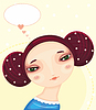 Vector clipart: Girl Face Love Thought