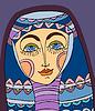 Векторный клипарт: Девушка лица Фиолетовый