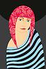 Векторный клипарт: Девушка розовыми волосами