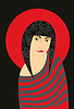 Векторный клипарт: Девушка Красный Полосатый