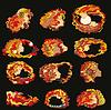 Vector clipart: Zodiac Set Girl Face Red Black