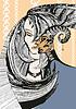 schönes Mädchen mit dem Kopf von Satyr