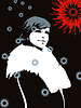 Vector clipart: beautiful girl in fur coat with falling snowflakes