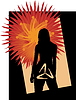 Silhouette of the girl with symbol