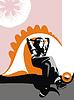 Vektor Cliparts: nachdenkliches sitztendes Mädchen