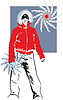 Vector clipart: sports girl in red warm jacket