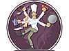 Vector clipart: multihanded dancing cook
