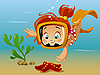 Vector clipart: Girl and starfish