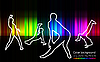 Vector clipart: silhouettes of dancing girls and men