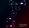 Vector clipart: Soap bubbles on black background