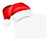 Векторный клипарт: Santa `ы шапка висит на пустую карту