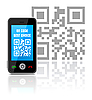 Vector clipart: Cell phone with QR code