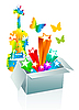 Векторный клипарт: Подарочная коробка сюрприз - развлечения
