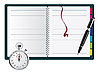 Vector clipart: Pen, spiral notepad and stopwatch..