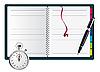 Векторный клипарт: Ручка, блокнот спираль и секундомер..