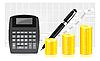 Векторный клипарт: монеты, ручку и калькулятор