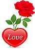 Векторный клипарт: Сердце и красная роза