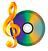 compact disc with music notes
