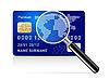Векторный клипарт: кредитная карта с увеличительным стеклом