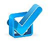 Векторный клипарт: Синий флажок с галочкой