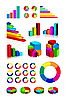 Set aus glänzendem Grafiken und Diagramme