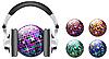 Векторный клипарт: discoball с наушниками